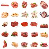 Wild meat collage, isolated stock image