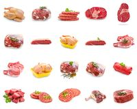 Wild meat collage, isolated stock images