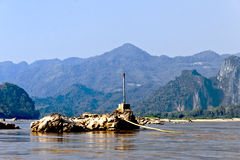 Wild Mekong flod i Laos Arkivbild
