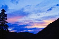 Wild Montana Big Sky. Over western Montana`s Sapphire Mountains, Rocky Mountains, fir tree Royalty Free Stock Photos