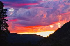Wild Montana Big Sky. Sunset over western Montana`s Sapphire Mountains, Rocky Mountains, fir trees, pines Stock Images