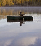 Wild morning lake rowing Royalty Free Stock Photography