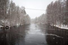Wild Morrum river in snowy winter stock photos