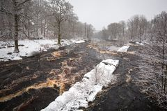 Wild Morrum river in snowy winter royalty free stock images