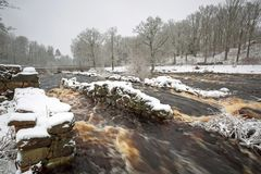 Wild Morrum river in snowy winter stock photography