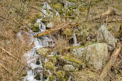 Wild Mountain Cascading Waterfalls. Located in Blue Ridge Mountains, George Washington National Forest, Nelson County, Virginia, USA Stock Photos