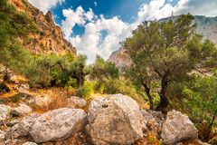 A wild mountain landscape near cave of Agia Sofia royalty free stock photography