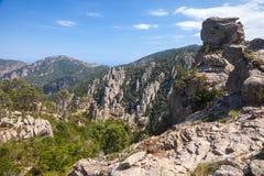 Wild mountain landscape, rough rocks, Corsica Royalty Free Stock Photos