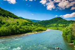 Wild mountain river on a clear summer day. Wild river flowing between green mountains on a clear summer day Stock Photos