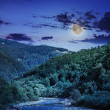 Wild mountain river on a clear summer night Royalty Free Stock Photo