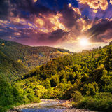 Wild mountain river on a hot summer evening Stock Photos