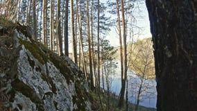 Wild Mountain river landscape of Chusovaya river in siberia, Ural, Russia. Landscape of Rocky shore of a mountain river Chusovaya, Ural, Russia, slider, 4k stock video footage