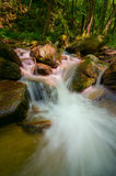 Wild mountain stream. Wild waters flowing over red rocks Stock Image