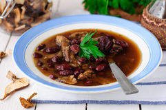 Wild Mushroom and Kidney Bean Soup Royalty Free Stock Photos