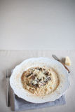 Wild mushroom risotto rice with grated parmesan cheese Royalty Free Stock Photography
