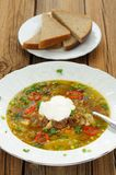 Wild mushroom and vegetable soup with sour cream and rye bread Stock Photography