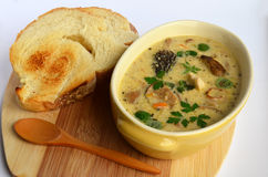 Wild mushrooms cream soup 4 Royalty Free Stock Images