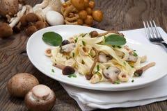Wild Mushrooms Pasta. Wild mushrooms Linguini pasta with roasted hazelnut, sage, and chives Royalty Free Stock Image