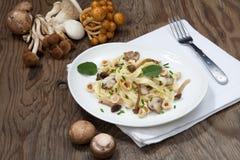Wild Mushrooms Pasta. Wild mushrooms Linguini pasta with roasted hazelnut, sage, and chives Royalty Free Stock Images