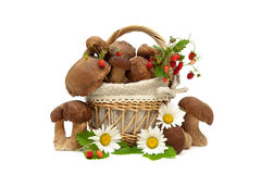 Wild mushrooms, strawberries and chamomile on a white background Stock Photos
