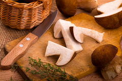 Wild  mushrooms and thyme Stock Photos