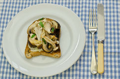 Wild mushrooms on toast Stock Images