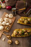 Wild mushrooms on toast Royalty Free Stock Images