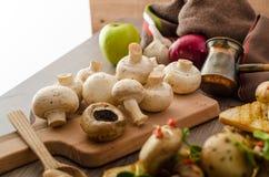 Wild mushrooms on toast Royalty Free Stock Images