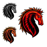 Wild mustang horse cartoon mascot. Wild mustang horse mascot with fiery red spiky mane and curved neck. Equestrian sporting symbol, horse racing or sports team Stock Photo