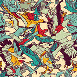 Wild nature birds color seamless pattern Stock Image