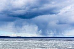 Wild nature cloudy sky and lake Stock Photos