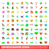 100 wild nature icons set, cartoon style. 100 wild nature icons set in cartoon style for any design illustration Royalty Free Stock Photos