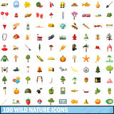 100 wild nature icons set, cartoon style Royalty Free Stock Image