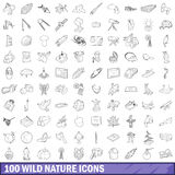100 wild nature icons set, outline style Stock Photography