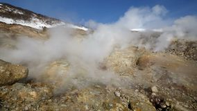 Activity of natural volcanic sulfur hot springs erupting from fumaroles clouds of hot gas, steam stock video