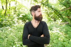 Wild nature. Man bearded hipster bright foliage background. Guy relax in forest. Exploring nature. Handsome man with. Beard and mustache in nature. Brutality of stock image
