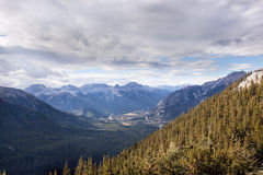 Wild nature in Rocky Mountains ,Bow valley and Banff National Park. View of bow valley, tunnel mountain from sulphur mountain, banff, alberta, canada Royalty Free Stock Photography