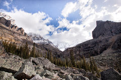 Wild nature in Rocky Mountains-snow mountain. A trail to snow mountain, Canada Royalty Free Stock Photography