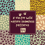 Wild nature seamless patterns set. Royalty Free Stock Photography