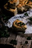 Wild nettle  whole wheat kissed buns. Style rustic. Stock Photography