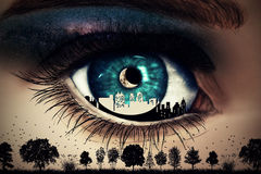 Wild night. Illustration of a painted, blue woman eye with a city inside looking at wild nature with trees and birds flying below a starry night sky with a new Stock Images