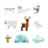 Wild north arctic animals vector. Cute animals and eskimos wild north symbols. Childish vector illustration arctic set. Snow wildlife cold polar bear mammal Stock Images