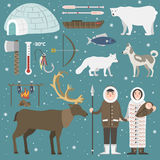 Wild north arctic people vector. Royalty Free Stock Image