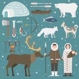 Wild north arctic people vector. Cute animals and eskimos wild north people. Childish vector illustration arctic set. Snow wildlife cold polar bear mammal Royalty Free Stock Image