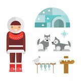 Wild north arctic people vector. Royalty Free Stock Photos