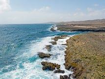 The wild north coast from Aruba island in the Caribbean. Sea Royalty Free Stock Photo