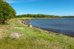 Wild North Sea Coast. Coast of the White Sea on the Great Solovetsky Island stock photo