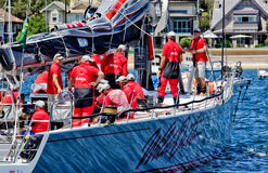 Wild Oats crew gets ready. SYDNEY, AUSTRALIA - DECEMBER 26,2013: The crew of Wild Oats XI go through final checks before competing in the Sydney to Hobart yacht Royalty Free Stock Photography