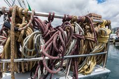 Ropes at the back of a state of the art maxi yacht stock photography