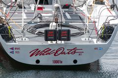 Wild Oats XI 11 record breaking win in the Sydney to Hobart Yacht Race - state of the art maxi, shot of stern from behind royalty free stock photo